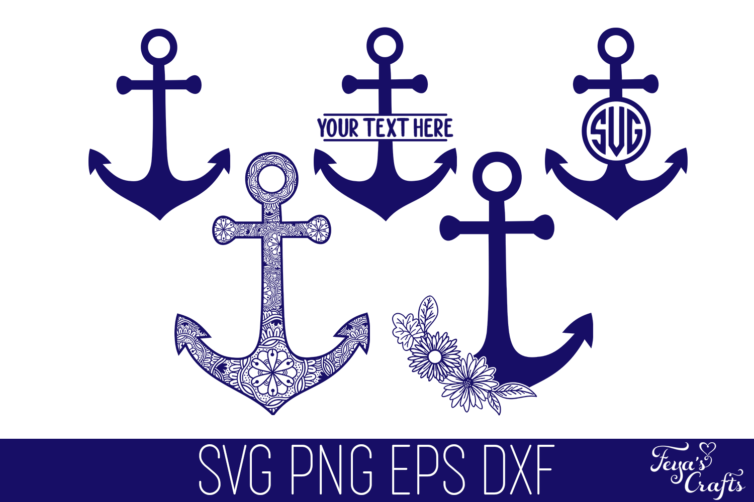 Download Free Anchor Cut Files Pack Graphic By Anastasia Feya Creative Fabrica for Cricut Explore, Silhouette and other cutting machines.