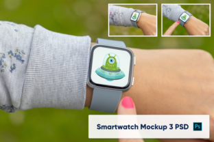 Print on Demand: Apple Watch on Woman's Hand - Mockup Graphic Product Mockups By marian.kadlec