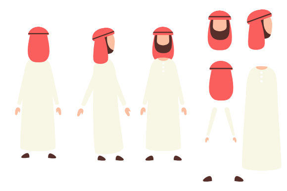 Download Free Arab Muslim Male Characters Graphic By Qasas77 Creative Fabrica for Cricut Explore, Silhouette and other cutting machines.