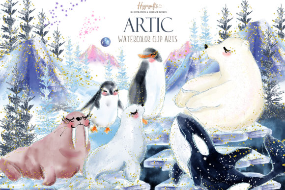 Artic Animals Clip Arts Gráfico Ilustraciones Por Hippogifts