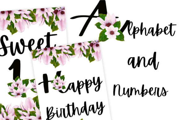 Download Free Black Magnolia Alphabet And Numbers Graphic By Andreea Eremia for Cricut Explore, Silhouette and other cutting machines.