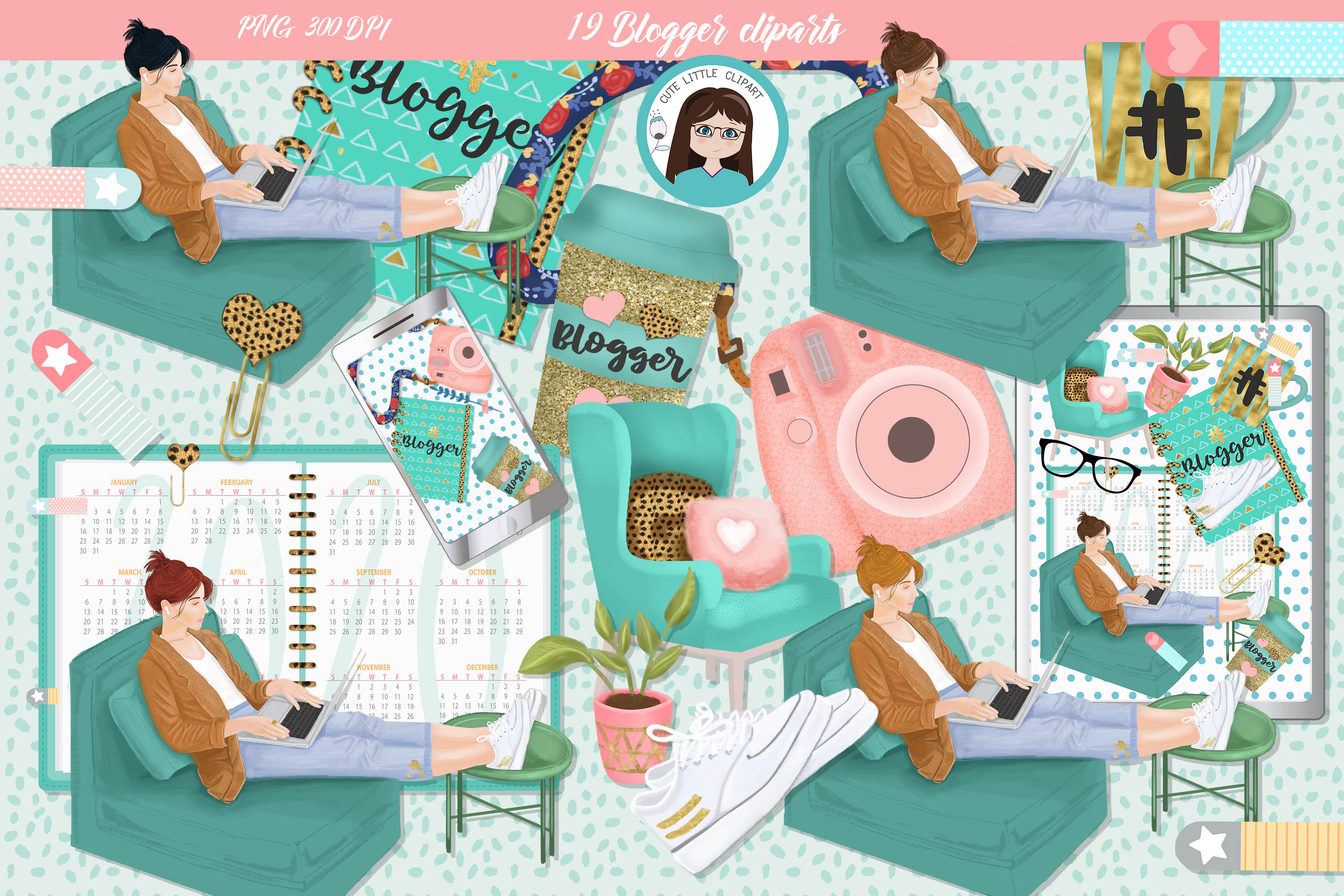 Download Free Blogger Clipart Graphic By Cutelittleclipart Creative Fabrica for Cricut Explore, Silhouette and other cutting machines.