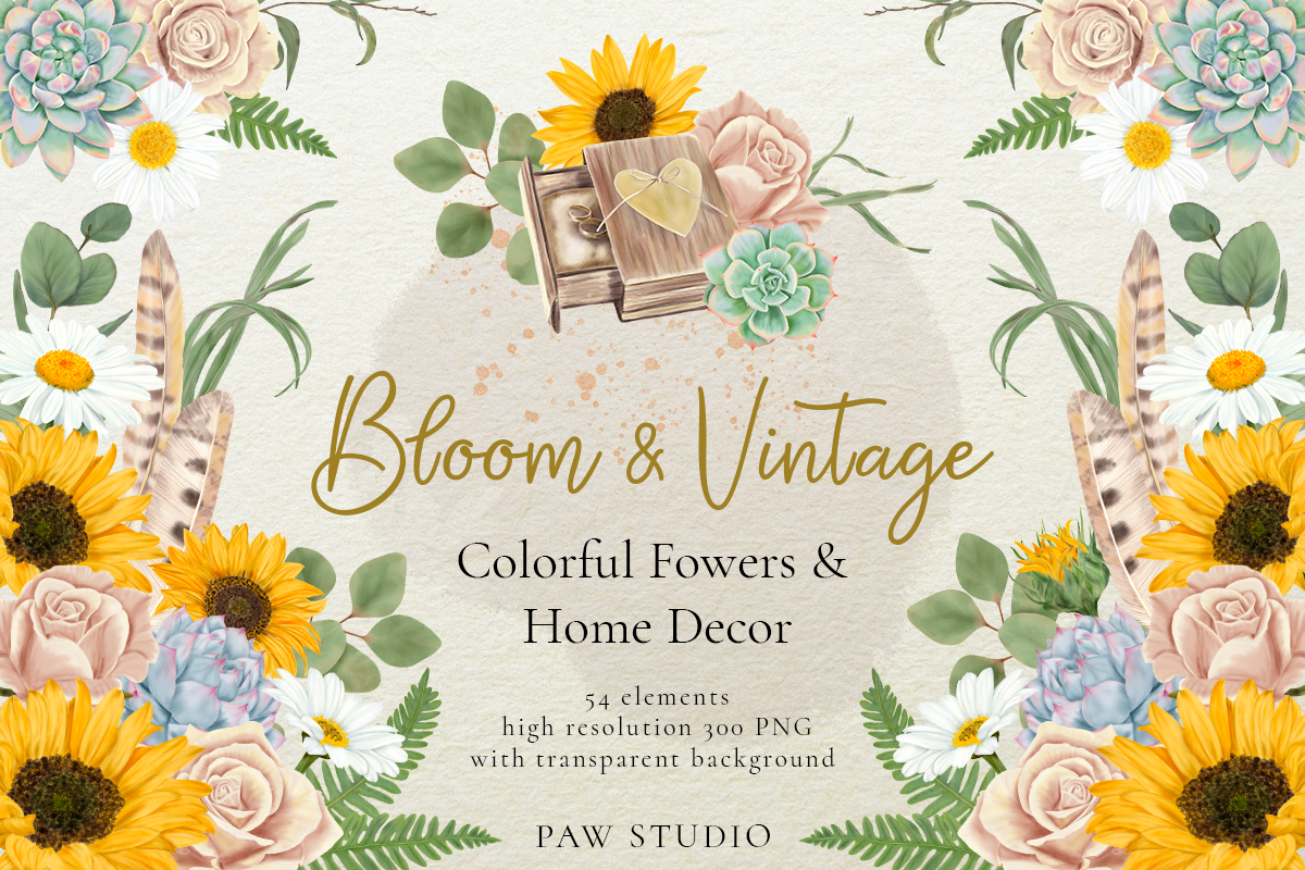 Download Free Bloom Vintage Graphic Graphic By Pawstudio Creative Fabrica for Cricut Explore, Silhouette and other cutting machines.