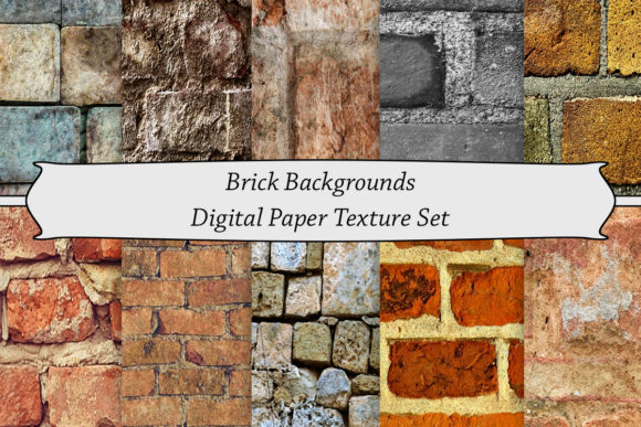Print on Demand: Brick Backgrounds Digital Paper Texture Graphic Backgrounds By A Design in Time