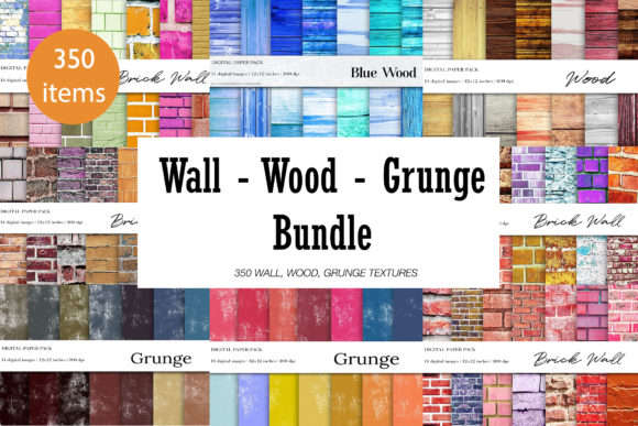 Brick Wall, Wood, Grunge Bundle Graphic Textures By BonaDesigns