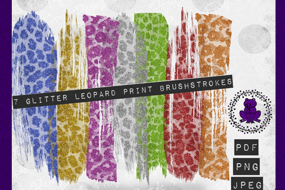 Brush Stroke Leopard Glitter Clipart Graphic By Heather Terry