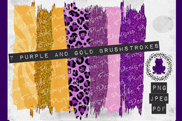 Brush Stroke - Purple and Gold Clipart Graphic Backgrounds By Heather Terry