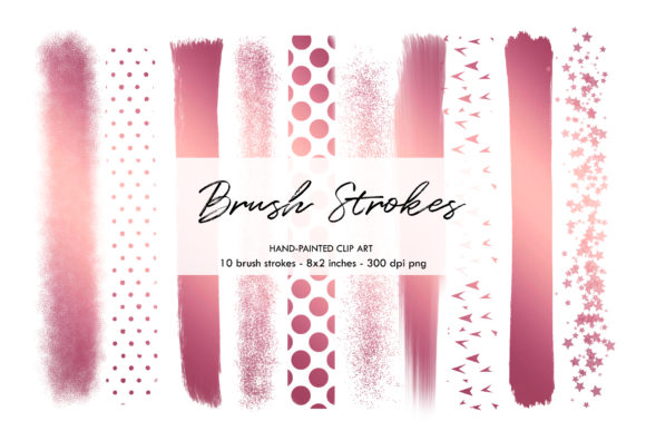 Brush Strokes, Rose Gold Brush Strokes Graphic Objects By BonaDesigns