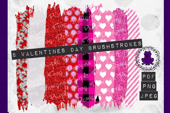 Download Free Brush Strokes Valentines Clip Art Graphic By Heather Terry for Cricut Explore, Silhouette and other cutting machines.