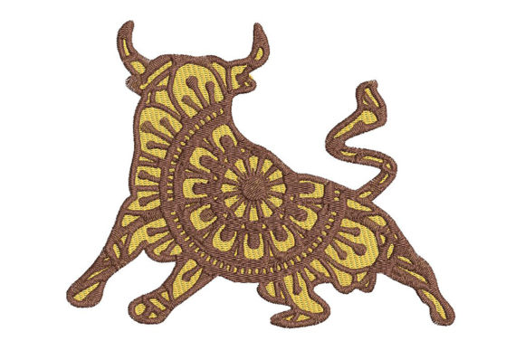 Print on Demand: Bull Zodiac Taurus Mandala Style Farm Animals Embroidery Design By Embroidery Shelter