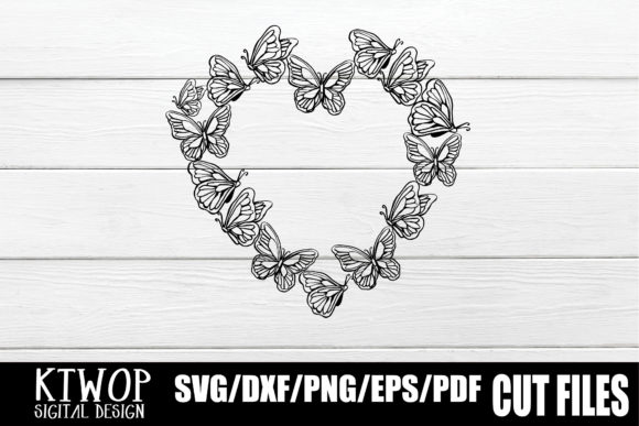 Download Free Butterfly Heart Monogram Graphic By Ktwop Creative Fabrica for Cricut Explore, Silhouette and other cutting machines.