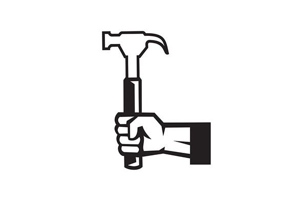 Download Free Carpenter Hand Holding Hammer Side View Graphic By Patrimonio for Cricut Explore, Silhouette and other cutting machines.