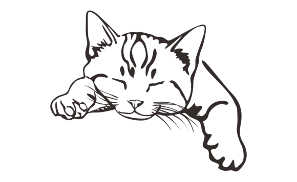 Download Free Cat With Black Line Art Style Graphic By Arief Sapta Adjie for Cricut Explore, Silhouette and other cutting machines.