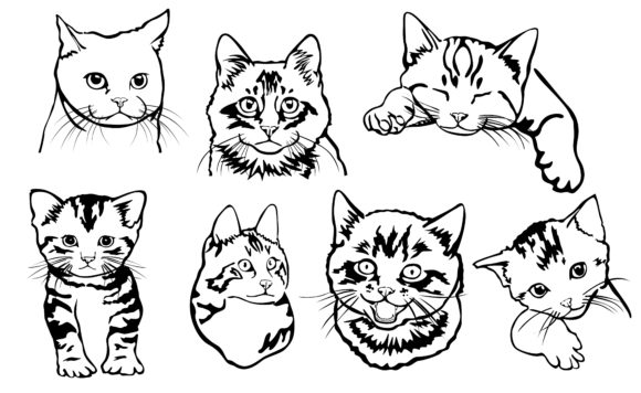 Download Free Cat With Black Line Art Style Bundle Graphic By Arief Sapta for Cricut Explore, Silhouette and other cutting machines.