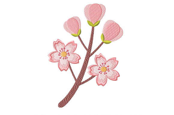 Cherry Blossom Single Flowers & Plants Embroidery Design By Julie Dunn - Image 1