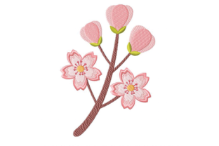 Cherry Blossom Single Flowers & Plants Embroidery Design By Julie Dunn