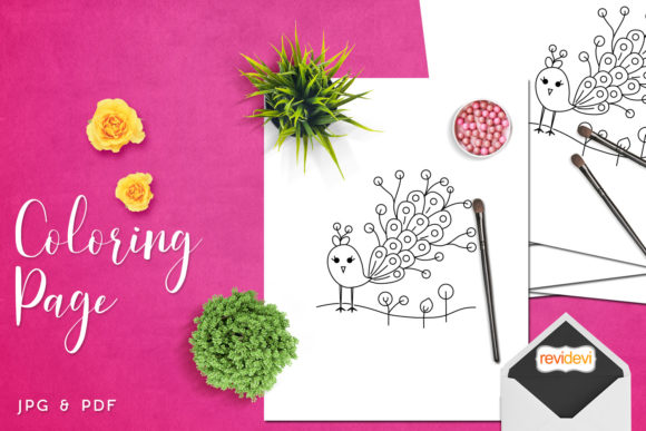 Print on Demand: Chic Peacock Coloring Page Graphic Coloring Pages & Books Kids By Revidevi