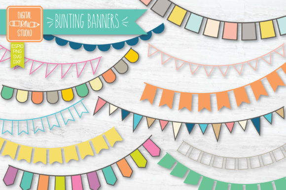 Color Bunting Banners Hand Drawn Garland Graphic Illustrations By Digital_Draw_Studio