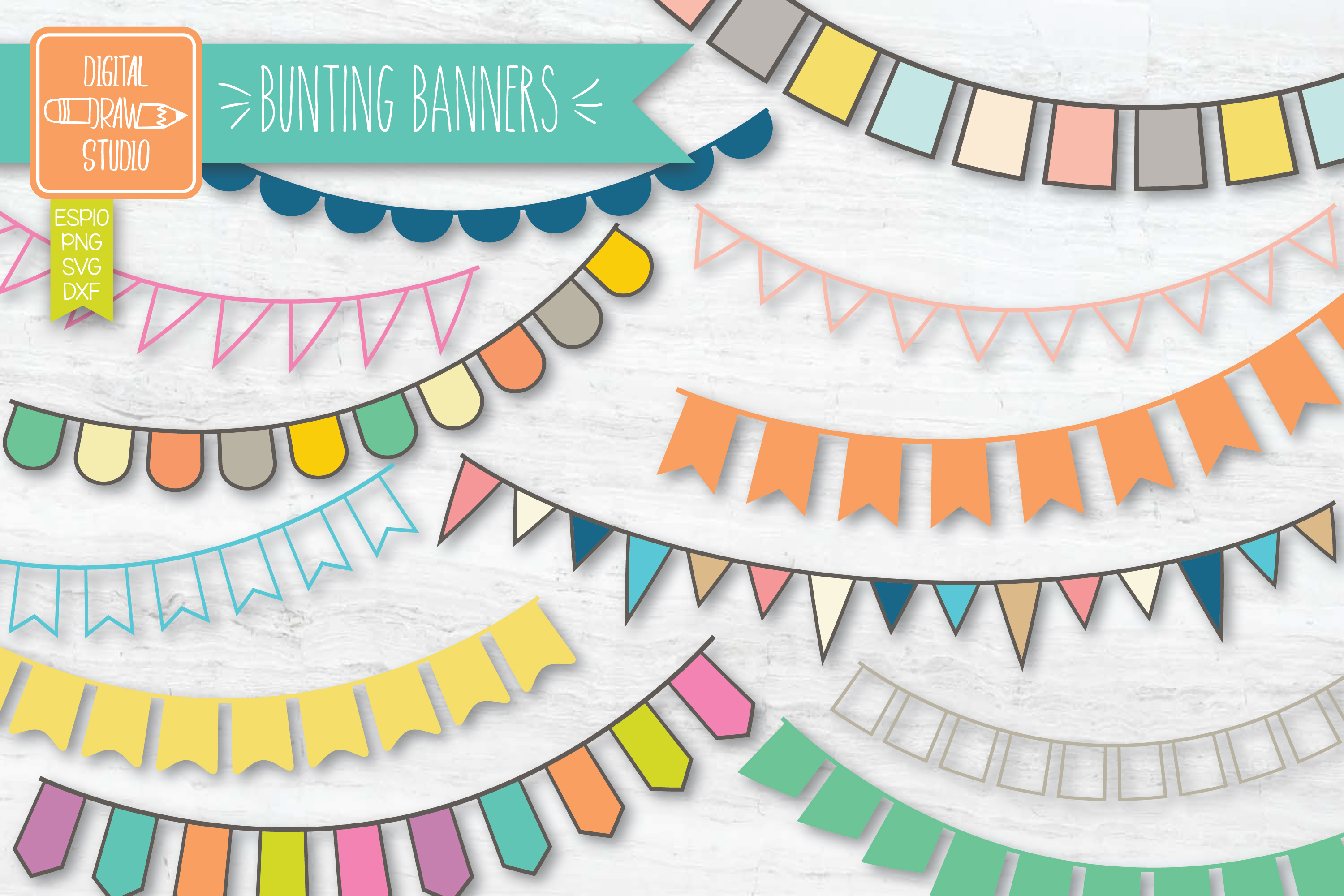 Download Free Color Bunting Banners Hand Drawn Garland Graphic By for Cricut Explore, Silhouette and other cutting machines.