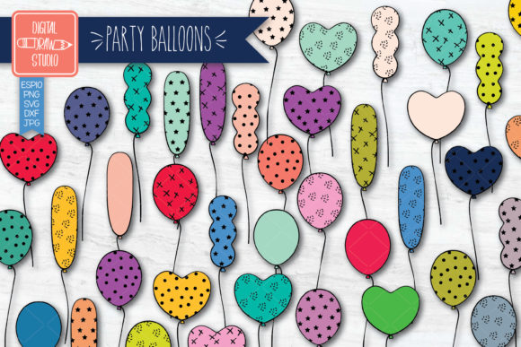 Colored Party Balloons Birthday Doodles Graphic Illustrations By carmela_giordano