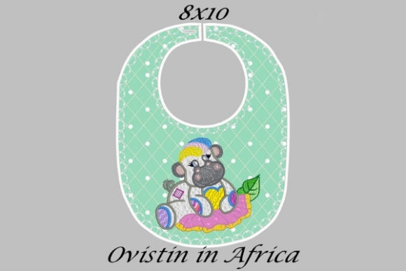 Cute Green Baby Hippo Bib Sewing & Crafts Embroidery Design By Ovistin in Africa - Image 1