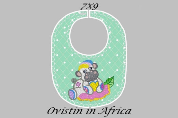Cute Green Baby Hippo Bib Small Nursery Embroidery Design By Ovistin in Africa