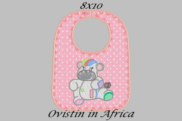 Cute Pink Baby Hippo Bib Nursery Embroidery Design By Ovistin in Africa - Image 1