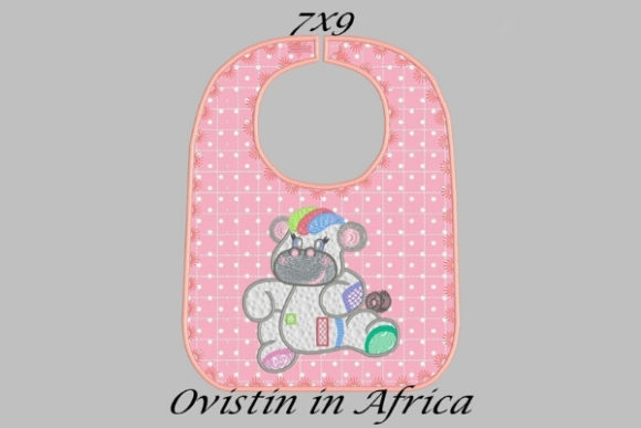 Cute Pink Baby Hippo Bib Small Nursery Embroidery Design By Ovistin in Africa