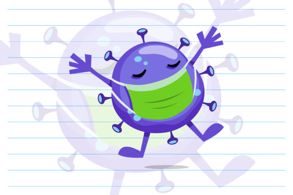 Cute Virus Cartoon Character. Vector Graphic Illustrations By Contr4