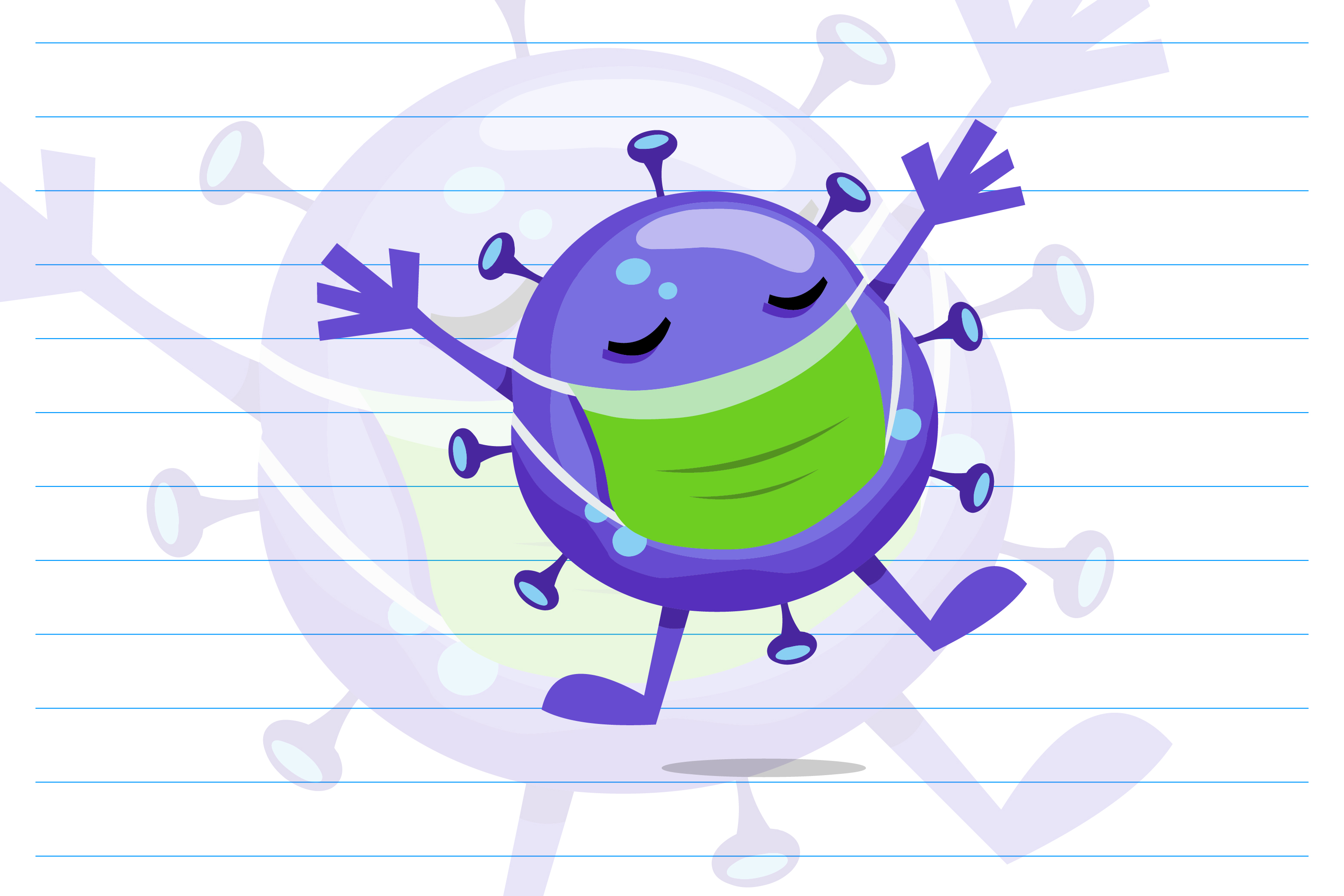 Download Free Cute Virus Cartoon Character Vector Graphic By Contr4 Creative Fabrica for Cricut Explore, Silhouette and other cutting machines.