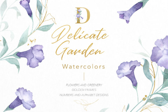 Download Free Delicate Garden Flowers Leafs Watercolor Graphic By Drawbbit for Cricut Explore, Silhouette and other cutting machines.