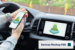 Print on Demand: Devices and Car Display Mockup Graphic Product Mockups By marian.kadlec