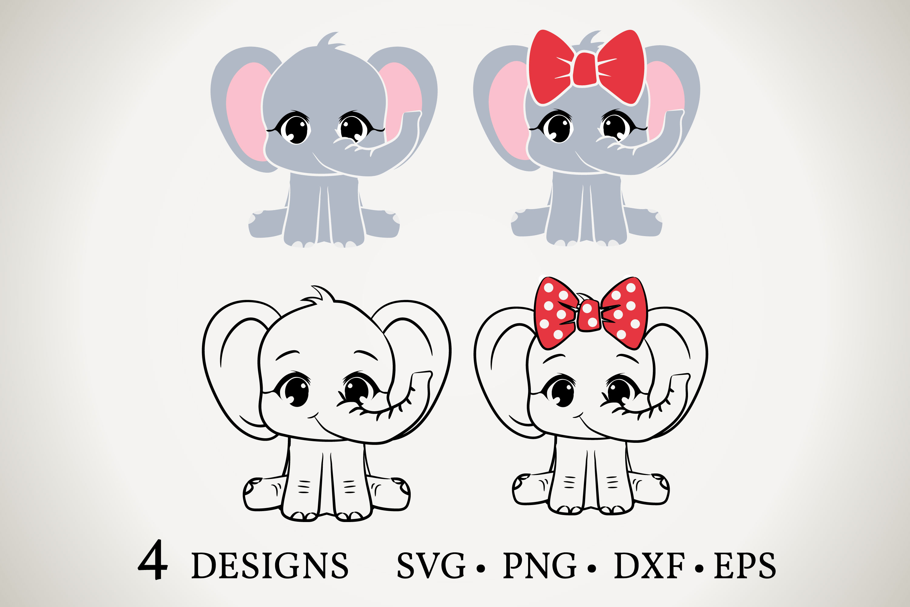 Download Free Elephant Bundle Graphic By Euphoria Design Creative Fabrica for Cricut Explore, Silhouette and other cutting machines.