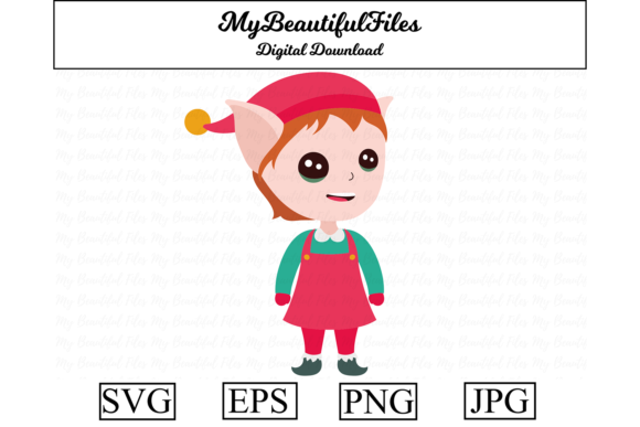 Download Free Elf Christmas Clipart Graphic By Mybeautifulfiles Creative Fabrica for Cricut Explore, Silhouette and other cutting machines.
