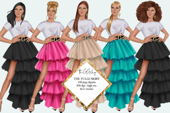 Print on Demand: Fashion Summer Girls Clipart Set Grafik Illustrationen von TheGGShop