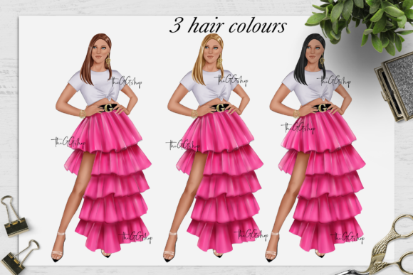Print on Demand: Fashion Summer Girls Clipart Set Graphic Illustrations By TheGGShop - Image 2