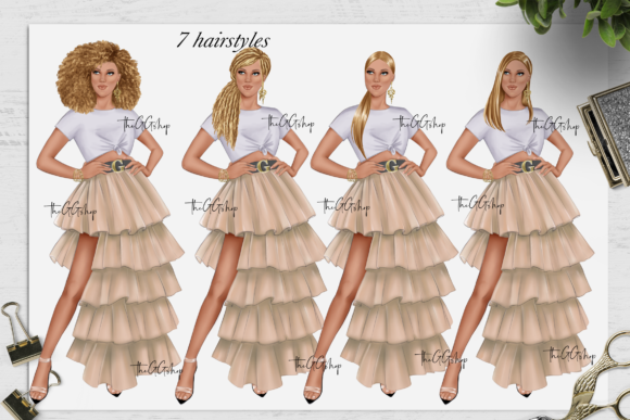 Print on Demand: Fashion Summer Girls Clipart Set Graphic Illustrations By TheGGShop - Image 4