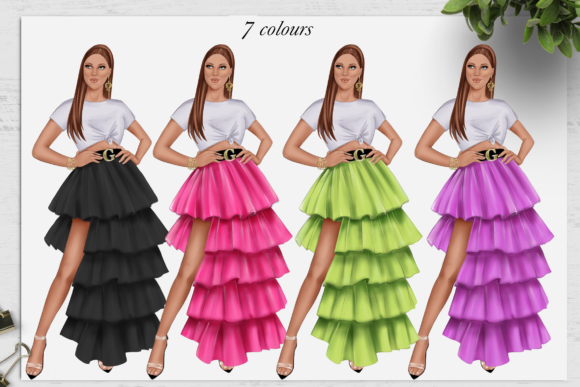 Print on Demand: Fashion Summer Girls Clipart Set Graphic Illustrations By TheGGShop - Image 5