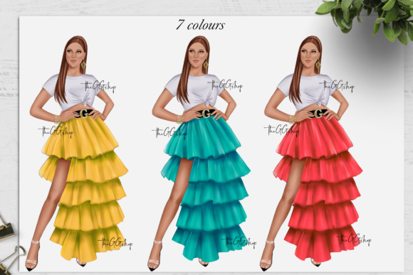 Print on Demand: Fashion Summer Girls Clipart Set Graphic Illustrations By TheGGShop - Image 6