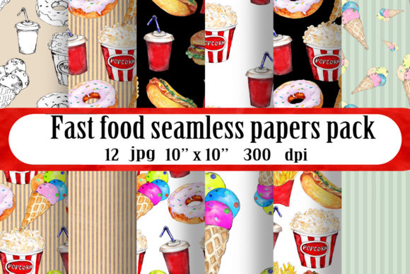 Download Free Fast Food Seamless Patterns Set Graphic By Arevkasunshine for Cricut Explore, Silhouette and other cutting machines.