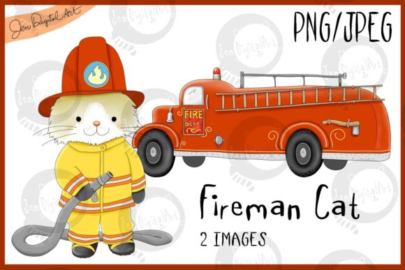 Download Free Fireman Cat Firetruck Graphic By Jen Digital Art Creative for Cricut Explore, Silhouette and other cutting machines.
