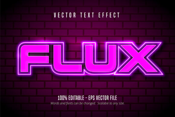 Print on Demand: Flux Neon Style Editable Text Effect Graphic Graphic Templates By Mustafa Bekşen