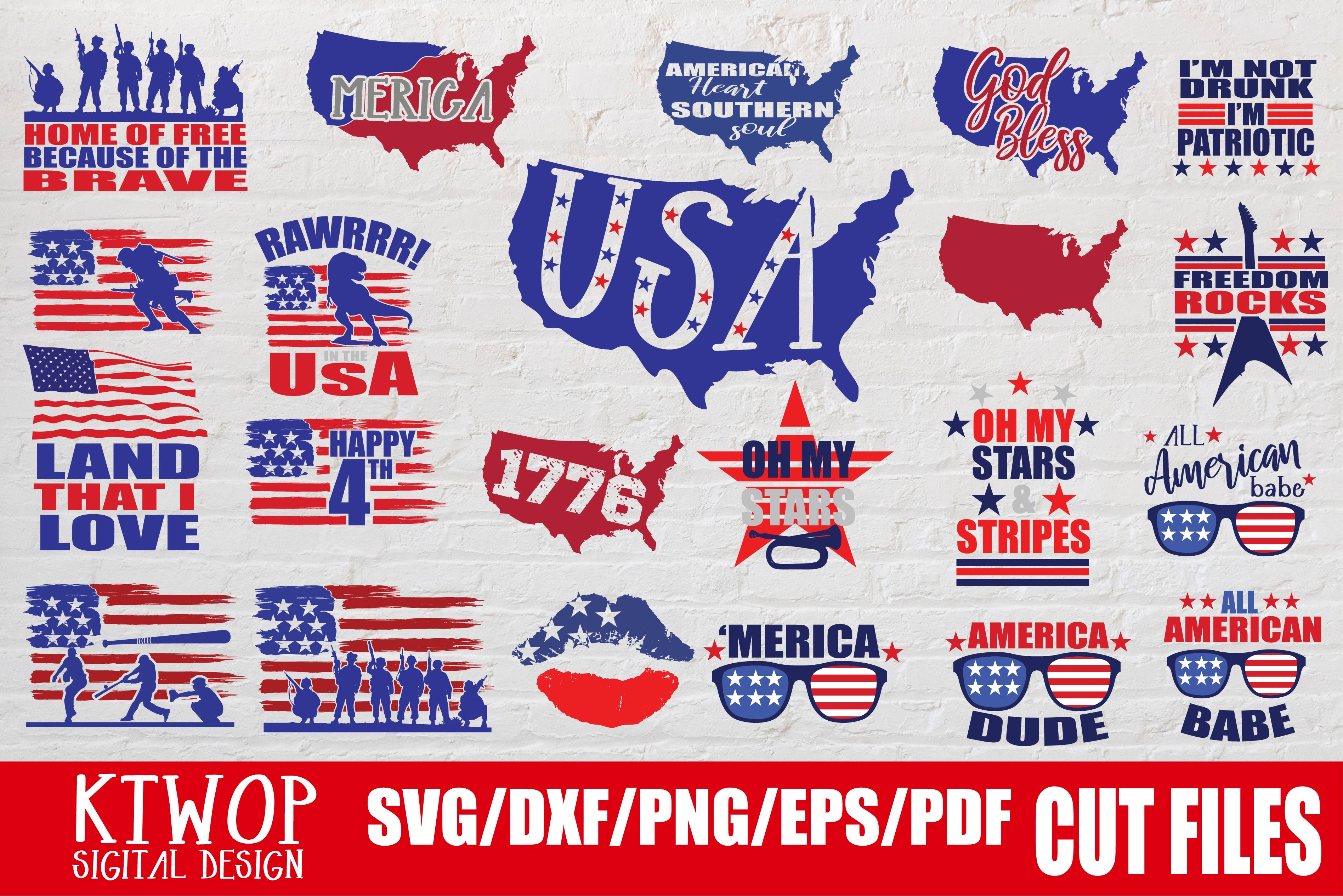 Download Free Fourth Of July Bundle Independence Graphic By Ktwop Creative for Cricut Explore, Silhouette and other cutting machines.