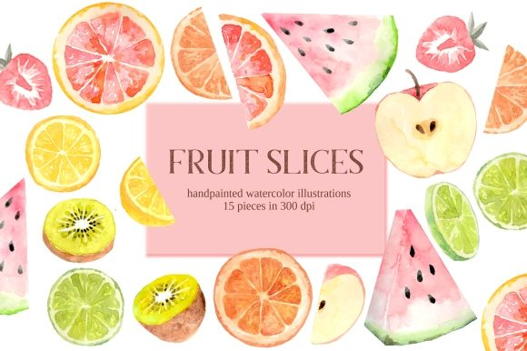 Print on Demand: Fruit Slices Watercolor Clipart Set Graphic Illustrations By roselocket - Image 1