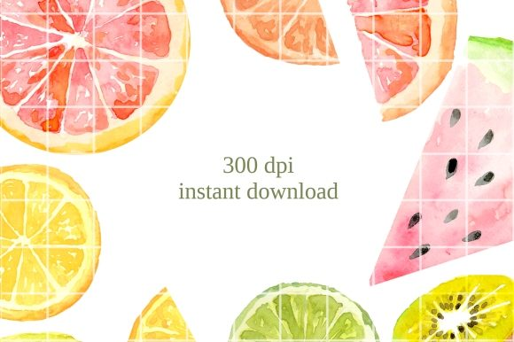Print on Demand: Fruit Slices Watercolor Clipart Set Graphic Illustrations By roselocket - Image 2