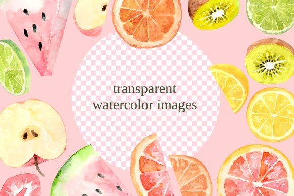 Print on Demand: Fruit Slices Watercolor Clipart Set Graphic Illustrations By roselocket - Image 3