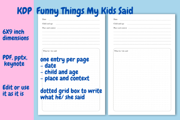 Download Free Funny Things My Kids Said Kdp Book Graphic By Income Plum for Cricut Explore, Silhouette and other cutting machines.