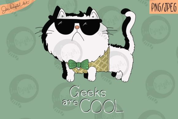 Download Free Geeks Are Cool Cat T Shirt Design Graphic By Jen Digital Art Creative Fabrica for Cricut Explore, Silhouette and other cutting machines.