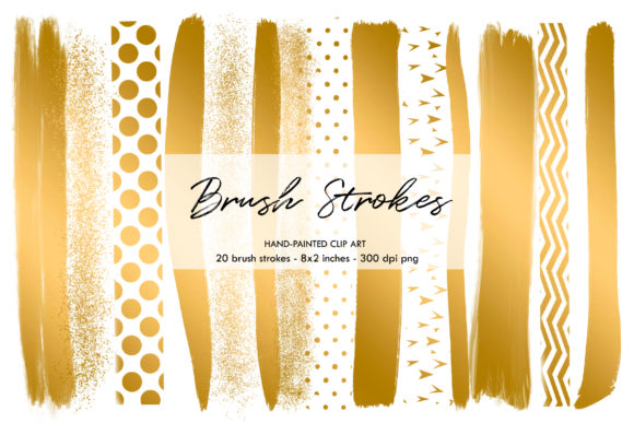 Download Free Gold Brush Strokes Brush Strokes Graphic By Bonadesigns for Cricut Explore, Silhouette and other cutting machines.