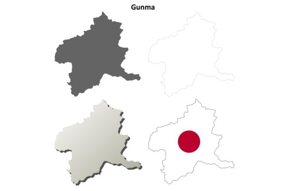 Download Free Gunma Outline Map Set Graphic By Davidzydd Creative Fabrica for Cricut Explore, Silhouette and other cutting machines.